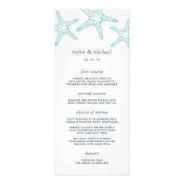 Beach Themed Aqua & Navy Starfish Wedding Menu Card