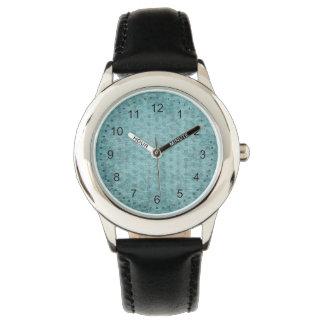 Aqua Nubby Chenille Fabric Texture Wrist Watch