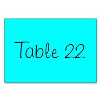 Aqua Numbered Table Cards