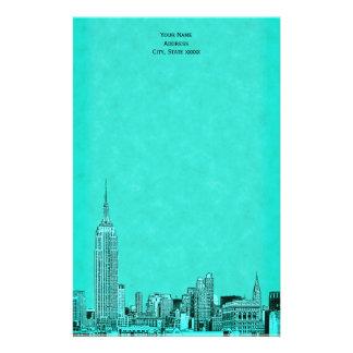 Aqua NYC Skyline Etched 01 Stationery