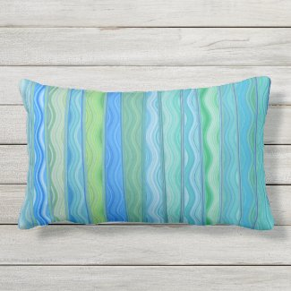 Aqua Ocean Abstract Stripe Lumbar Pillow