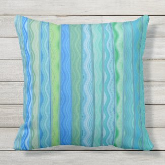 Aqua Ocean Abstract Stripe Pillow 20x20