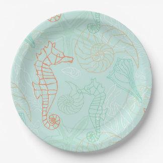 Aqua Ocean Seahorse Motif Paper Plate