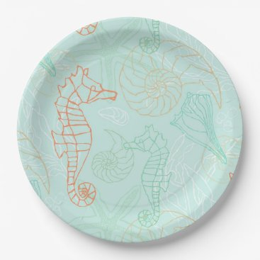Beach Themed Aqua Ocean Seahorse Motif Paper Plate