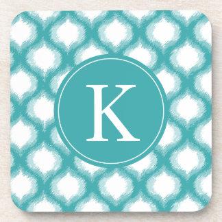 Aqua Ogee Ikat Pattern Monogram Coasters