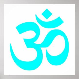 Aqua Om Symbol Poster