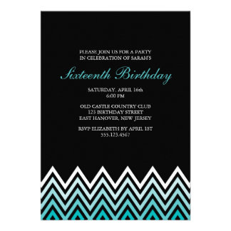 Aqua Ombre Chevrons Birthday Cards