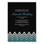 Aqua Ombre Chevrons Birthday 5x7 Paper Invitation Card