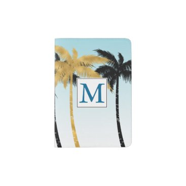 Beach Themed Aqua Ombre Gold Black Palm Trees Monogram Passport Holder