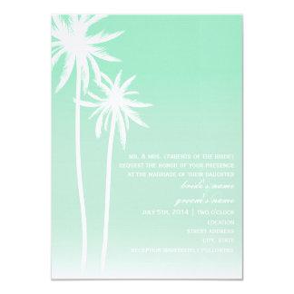 Aqua Ombré  Palm Trees Beach Wedding Invitation