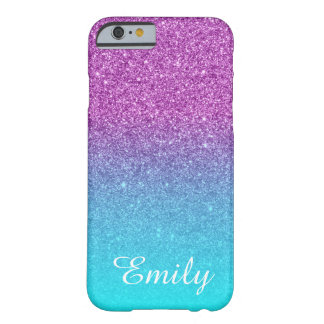 Aqua Ombre Purple Glitter Personalized Barely There iPhone 6 Case