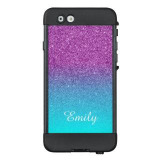 Aqua Ombre Purple Glitter Personalized LifeProof NÜÜD iPhone 6 Case