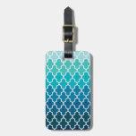 Aqua Ombre Quatrefoil Bag Tags