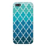 Aqua Ombre Quatrefoil Case For iPhone 5