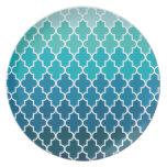 Aqua Ombre Quatrefoil Dinner Plates