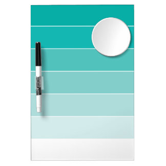 Aqua Ombré Stripes Dry Erase Board With Mirror