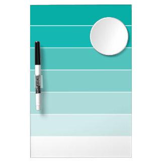 Aqua Ombré Stripes Dry Erase Board With Mirror