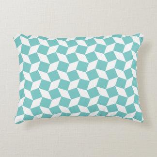 Aqua Op Art Pattern Accent Pillow