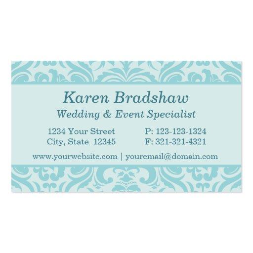 Aqua or teal damask event planner business cards zazzle for Event planner business card