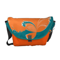 Aqua Orange Fiery Wave Courier Bag