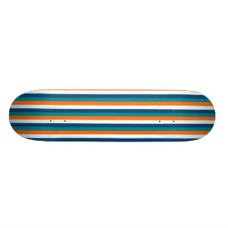 Aqua Orange Navy White Stripes Skateboard