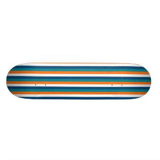 Aqua Orange Navy White Stripes Skateboard