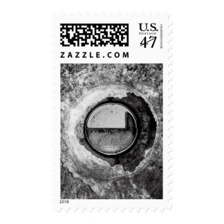 """Aqua Orb Grey"" JTG Art Postage Stamp"