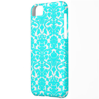 Aqua Ornate Floral Damask Pattern iPhone 5C Cover