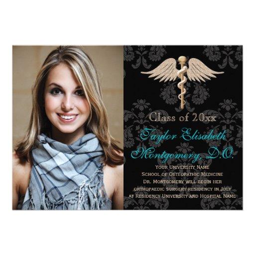 Aqua Osteopathic Medicine DO School Graduation Personalized Invitations
