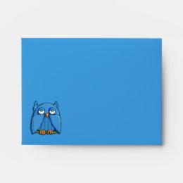 Aqua Owl aqua A2 Note Card Envelope