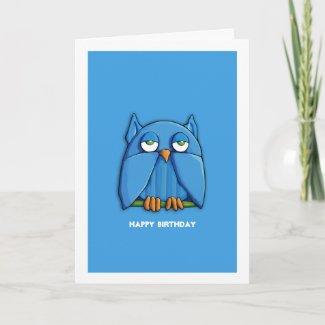 Aqua Owl aqua Birthday Card zazzle_card