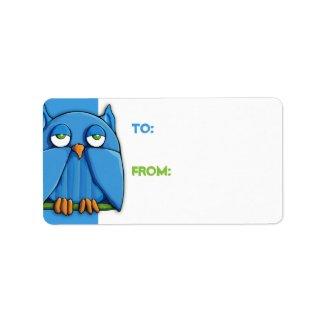 Aqua Owl aqua Gift Tag zazzle_label