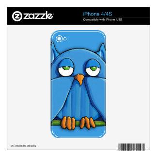 Aqua Owl aqua iPhone 4/4S Skin Decals For The iPhone 4
