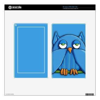 Aqua Owl aqua Kindle Fire Skin
