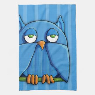 Aqua Owl aqua stripes Kitchen Towel