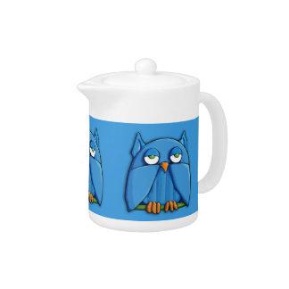 Aqua Owl aqua Teapot