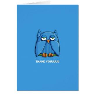 Aqua Owl aqua Thank You Note Card zazzle_card