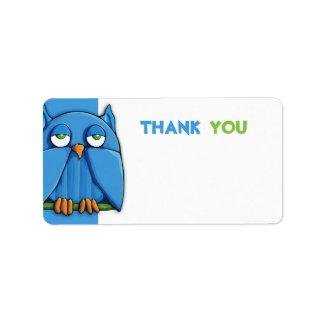 Aqua Owl aqua Thank You Sticker zazzle_label