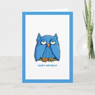 Aqua Owl Birthday Card zazzle_card
