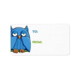 Aqua Owl Gift Tag zazzle_label