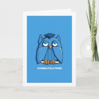 Aqua Owl Grad aqua Congratulations Graduation zazzle_card