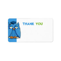 Aqua Owl Grad aqua Thank You Gift Tag