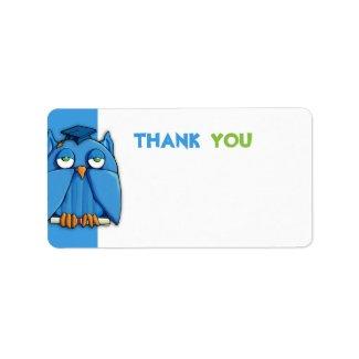 Aqua Owl Grad aqua Thank You Gift Tag zazzle_label