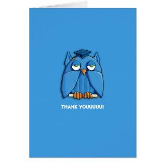 Aqua Owl Grad aqua Thank You Note Card zazzle_card