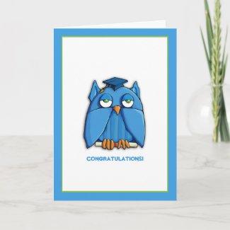Aqua Owl Grad Congratulations Graduation Card zazzle_card