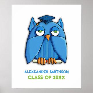 Aqua Owl Grad Graduation Poster