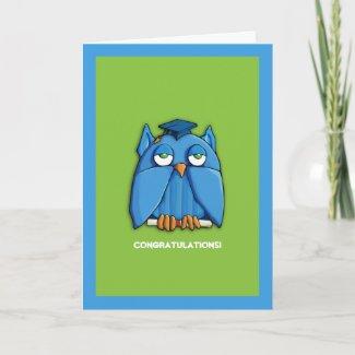 Aqua Owl Grad green aqua Congratulations Graduate zazzle_card