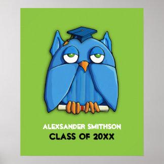 Aqua Owl Grad green Graduation Poster