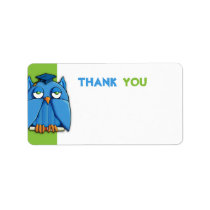 Aqua Owl Grad green Thank You Gift Tag