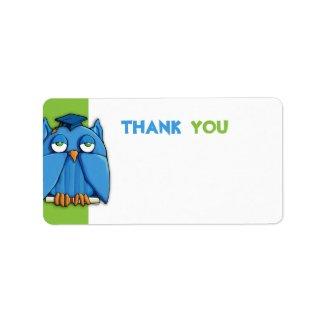 Aqua Owl Grad green Thank You Gift Tag zazzle_label